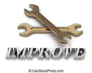 IMPROVE- inscription of metal letters and 2 keys on white...