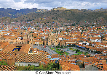 Aerial view of Cuzco city center Peru