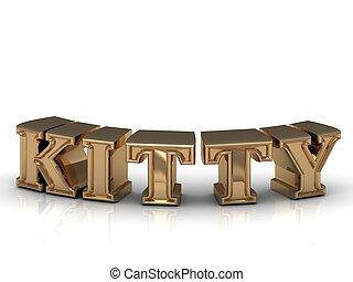 gatito, -, inscripción, de, brillante, oro, Cartas,