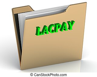 LACPAY - bright color letters on a gold folder on a white...