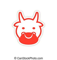 paper sticker Indian cow on white background