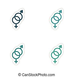 assembly realistic sticker design on paper equality of the sexes