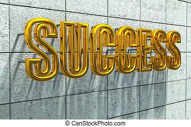 success golden text