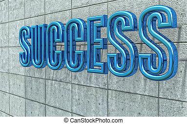 chrome 3d success text