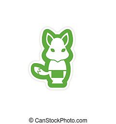 stylish paper sticker on white background fox masseur