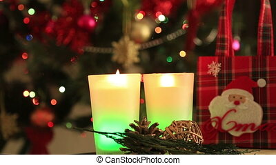 Christmas Tree and Christmas gift - Holiday Christmas scene....