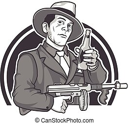 Mobster Beer - Vector Illustration of Male Gangster in...