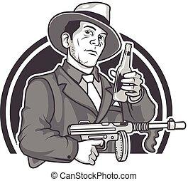 Mobster Beer - Vector Illustration of Male Gangster in...
