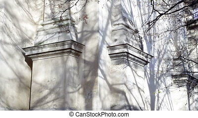 Beautiful white columns of the Temple in Lviv