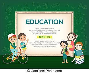 Happy group of Kids Education background template - Happy...