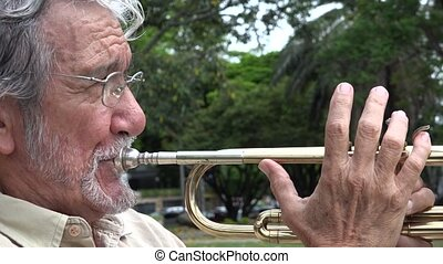 Old Man Playing Trumpet