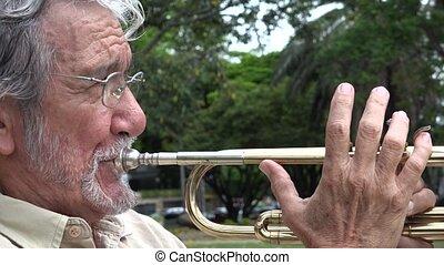 Old Man Playing Trumpet