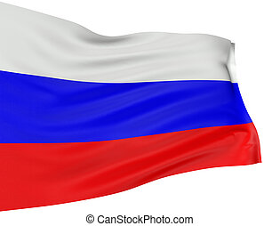 3D Russian flag with fabric surface texture White background...