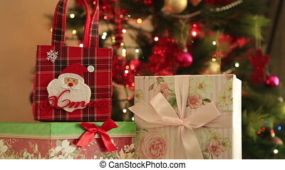 Christmas Tree and Christmas gift - Holiday Christmas scene...