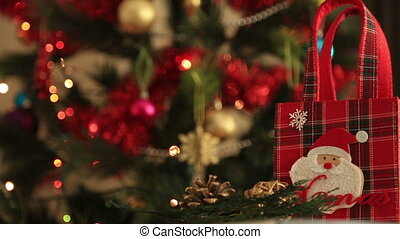 Holiday Christmas scene. Gift under the Christmas tree