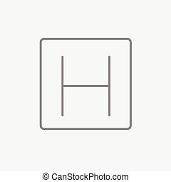 Hospital sign line icon - Hospital sign line icon for web,...