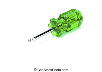 screwdriver - green screwdriver isolated on white background...