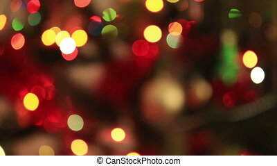 Blurred Christmas Lights - Defocused Christmas tree blinking...