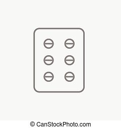 Plate of pills line icon. - Plate of pills line icon for...