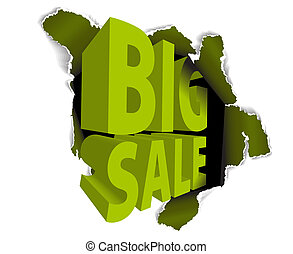 Big sale discount advertisement - Hole with sale text