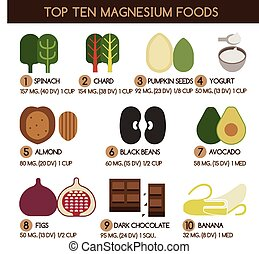 Top ten magnesium foods vector