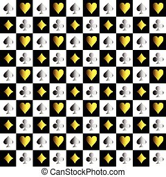 Card Suit Chess Board Gold Silver Background