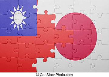 puzzle with the national flag of japan and taiwan . concept