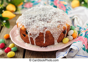 Kulitch (Kulich), Russian Easter Bread Topped with Sugar...