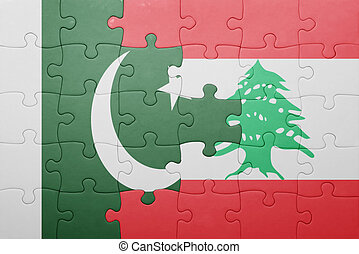 puzzle with the national flag of lebanon and pakistan