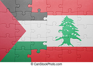 puzzle with the national flag of lebanon and palestine...