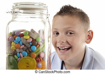 Boy and sweet jar