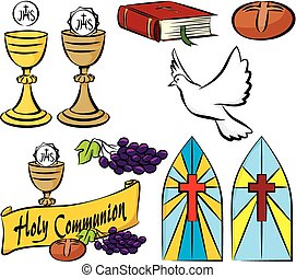 my first holy communion - vector set of holy communion...