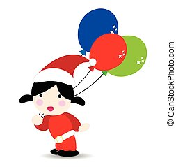 Baby wearind santa suit holding balloons