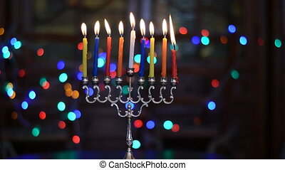 Time Lapse of Hanukkah Candles Burning. Hanukkah Menorah...