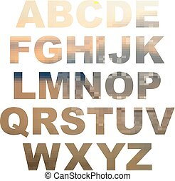Design elements - gold 3D font. Set. Vector illustration