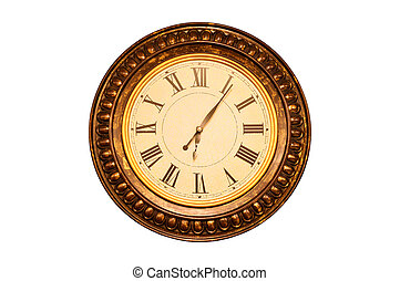 Wall clock - Gold framed decorative wall clock isolated on...