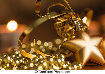 New Year decoration with defocussed candles lights, bokeh in...