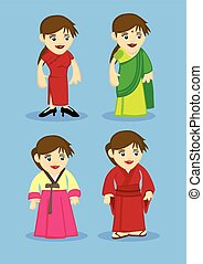 Traditional Asian Costumes for Women Vector Illustration -...