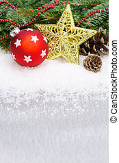 christmas fir tree border with ball and golden star