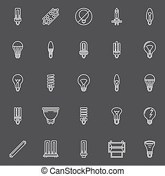 Bulbs icons set - vector collection of halogen, led, CFL...