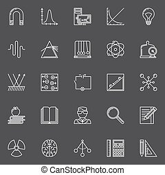 Physics and science icons - vector set of linear education...