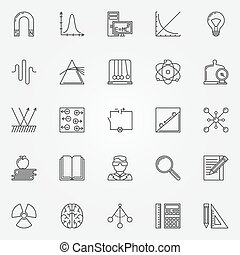 Physics icons set - vector line science symbols and logo...