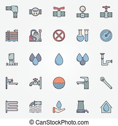 Water supply flat icons - Water supply icons - vector set of...
