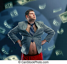 Funny businessman with money