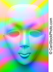 Face mask in colourfull lights - Closeup of face mask in...