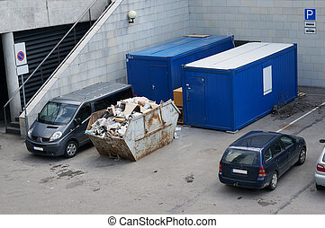 container with construction garbage