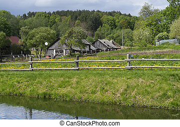 European village landscape - Retro wooden European village...