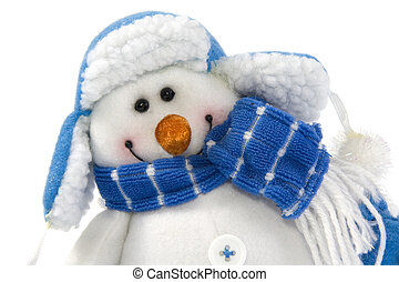 Snowman in hat isolated - Snowman in hat and scarf isolated...