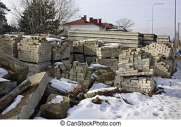 Thousand old white silicate bricks