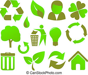eco icon set green